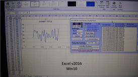 All data has been imported from the Atmega 2560 into Excel, you can see the data to your left in columns A and B.
